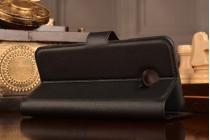 """Фирменный чехол-книжка для Samsung Galaxy C5 (C5000) 5.2"""" с визитницей и мультиподставкой черный кожаный"""