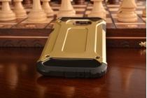 """Противоударный усиленный ударопрочный фирменный чехол-бампер-пенал для Samsung Galaxy C5 (C5000) 5.2"""" золотой с подставкой"""