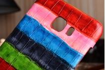 """Фирменная неповторимая экзотическая панель-крышка обтянутая кожей крокодила с фактурным тиснением для Samsung Galaxy C5 (C5000) 5.2""""  тематика """"Тропический Коктейль"""". Только в нашем магазине. Количество ограничено."""