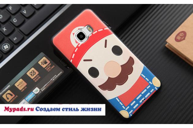 """Фирменная задняя панель-чехол-накладка из 3D силикона с объёмным рисунком для Samsung Galaxy C5 (C5000) 5.2"""" """"тематика Марио"""""""