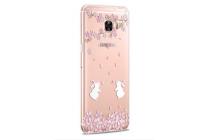 """Фирменная задняя панель-чехол-накладка из прозрачного 3D  силикона с  объёмным рисунком для Samsung Galaxy C5 (C5000) 5.2"""" тематика """"Кролики в цветах"""""""