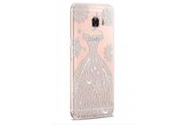 """Фирменная задняя панель-чехол-накладка из прозрачного 3D  силикона с  объёмным рисунком для Samsung Galaxy C5 (C5000) 5.2"""" тематика """"Винтажное платье"""""""