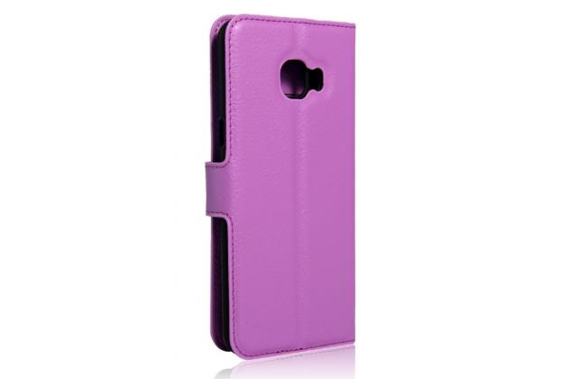 """Фирменный чехол-книжка для Samsung Galaxy C5 (C5000) 5.2"""" с визитницей и мультиподставкой фиолетовый кожаный"""