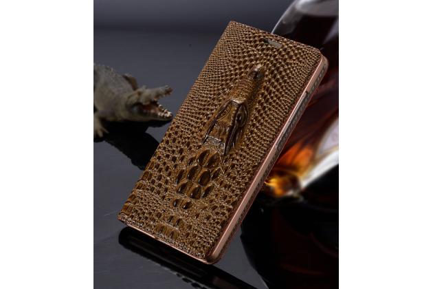 """Фирменный роскошный эксклюзивный чехол с объёмным 3D изображением кожи крокодила коричневый для Samsung Galaxy C5 (C5000) 5.2"""". Только в нашем магазине. Количество ограничено"""