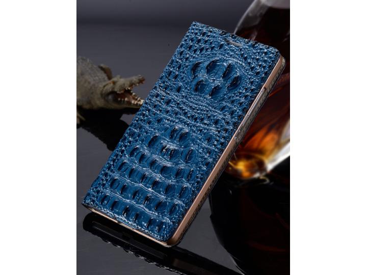 Фирменный роскошный эксклюзивный чехол с объёмным 3D изображением рельефа кожи крокодила синий для for Samsung..