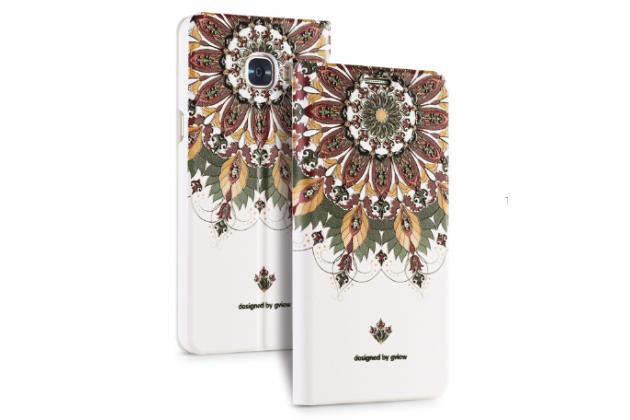 """Фирменный уникальный необычный чехол-книжка для Samsung Galaxy C5 (C5000) 5.2"""" с 3D объёмным рисунком """"тематика Эклектические Узоры"""" кожаный"""