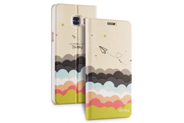 """Фирменный уникальный необычный чехол-книжка для Samsung Galaxy C5 (C5000) 5.2"""" с 3D объёмным рисунком """"тематика Радужные Облака"""" кожаный"""