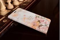 """Фирменный уникальный необычный чехол-книжка с 3D рисунком  для Samsung Galaxy C5 (C5000) 5.2""""  """"тематика Королевские розы"""""""