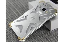 Противоударный металлический чехол-бампер из цельного куска металла с усиленной защитой углов и необычным экстремальным дизайном для Samsung Galaxy C5 серебристого цвета