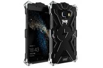 """Противоударный металлический чехол-бампер из цельного куска металла с усиленной защитой углов и необычным экстремальным дизайном для Samsung Galaxy C5 (C5000) 5.2""""  черного цвета"""