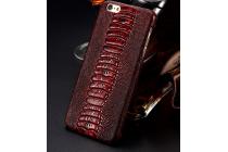 Фирменная элегантная экзотическая задняя панель-крышка с фактурной отделкой натуральной кожи крокодила цвет красное вино для Samsung Galaxy C5 Pro / Galaxy C5 2017 (SM-C5010) . Только в нашем магазине. Количество ограничено.