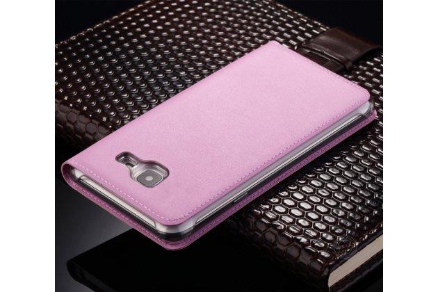 Фирменный чехол-книжка для Samsung Galaxy C7 Pro SM-C7010 розовый с окошком для входящих вызовов водоотталкивающий