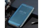 Чехол-книжка MyPads для Samsung Galaxy C7 Pro SM-C7010 с дизайном Clear View Cover с полупрозрачной пластиковой крышкой с зеркальной поверхностью синий