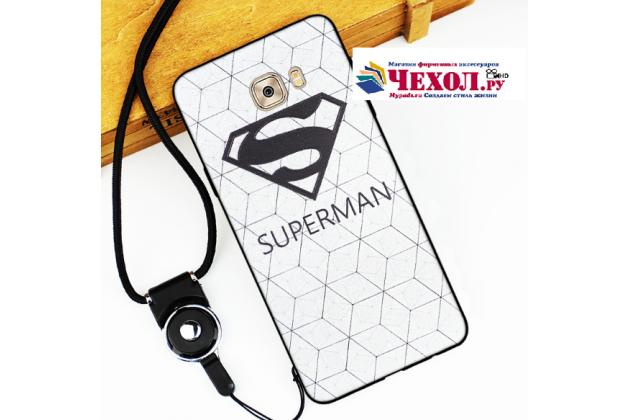 Фирменная уникальная задняя панель-крышка-накладка из тончайшего силикона для Samsung Galaxy C7 Pro SM-C7010 с объёмным 3D рисунком тематика Superman