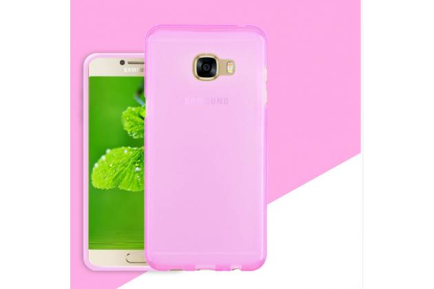 Фирменная ультра-тонкая полимерная из мягкого качественного силикона задняя панель-чехол-накладка для Samsung Galaxy C7 Pro SM-C7010 розовая