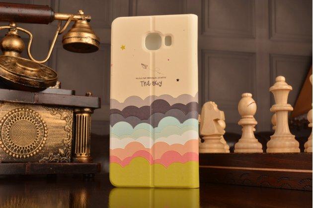 """Фирменный уникальный необычный чехол-книжка для Samsung Galaxy C7(C7000) 5.7"""" с 3D объёмным рисунком """"тематика Радужные Облака"""" кожаный"""