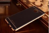 """Фирменная роскошная элитная премиальная задняя панель-крышка на металлической основе обтянутая импортной кожей для Samsung Galaxy C7(C7000) 5.7"""" королевский черный"""