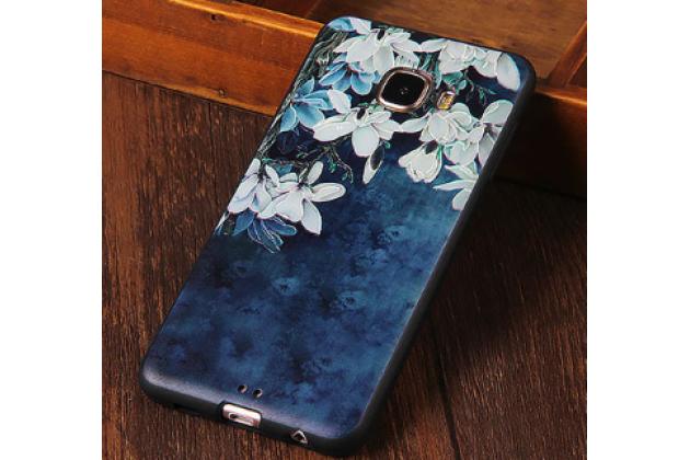 """Фирменная роскошная задняя панель-чехол-накладка из мягкого силикона с объемным  3D изображением на Samsung Galaxy C7(C7000) 5.7"""" с безумно красивым рисунком  """"Тематика Ночная Лилия"""""""