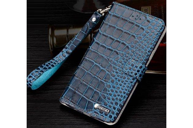 """Фирменный роскошный эксклюзивный чехол с фактурной прошивкой рельефа кожи крокодила и визитницей синий для Samsung Galaxy C7(C7000) 5.7"""". Только в нашем магазине. Количество ограничено"""