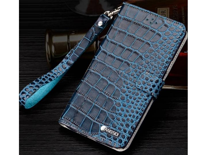 Фирменный роскошный эксклюзивный чехол с фактурной прошивкой рельефа кожи крокодила и визитницей синий для Sam..