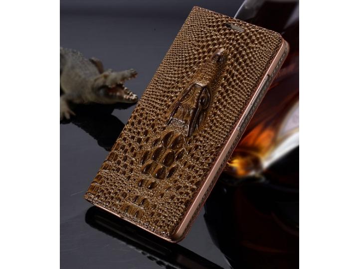 Фирменный роскошный эксклюзивный чехол с объёмным 3D изображением кожи крокодила коричневый для  Samsung Galax..