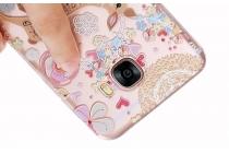 """Фирменная задняя панель-чехол-накладка из прозрачного 3D  силикона с  объёмным рисунком для Samsung Galaxy C7(C7000) 5.7"""" тематика """"Олень в Цветах"""""""