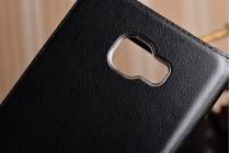 """Фирменный чехол-книжка для Samsung Galaxy C7(C7000) 5.7"""" из качественной импортной кожи черный с окошком для входящих вызовов и свайпом"""