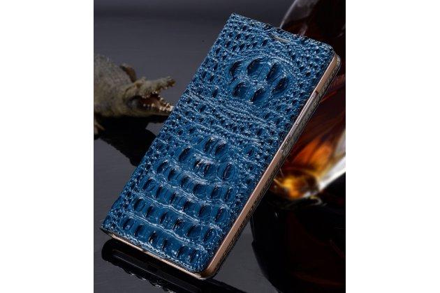 """Фирменный роскошный эксклюзивный чехол с объёмным 3D изображением рельефа кожи крокодила синий для  Samsung Galaxy C7(C7000) 5.7"""". Только в нашем магазине. Количество ограничено"""