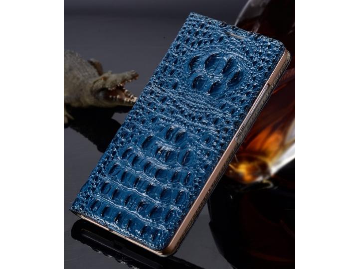 Фирменный роскошный эксклюзивный чехол с объёмным 3D изображением рельефа кожи крокодила синий для  Samsung Ga..