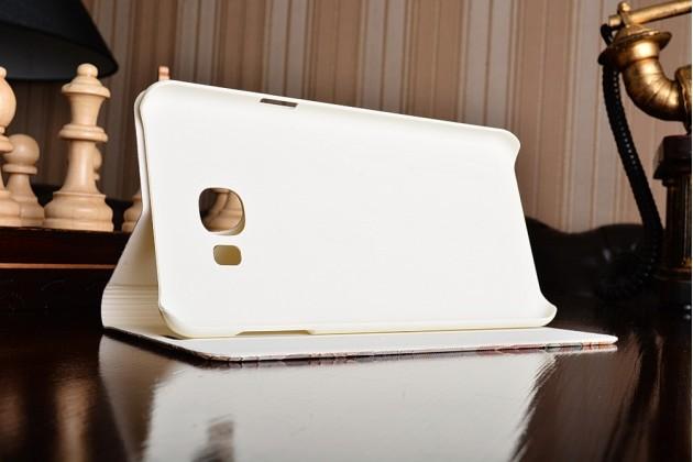 """Фирменный уникальный необычный чехол-книжка для Samsung Galaxy C7(C7000) 5.7"""" с 3D объёмным рисунком """"тематика королевские Розы"""" кожаный"""
