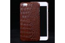 """Фирменная роскошная эксклюзивная накладка с объёмным 3D изображением рельефа кожи крокодила коричневая для Samsung Galaxy C5 (C5000) 5.2"""". Только в нашем магазине. Количество ограничено"""