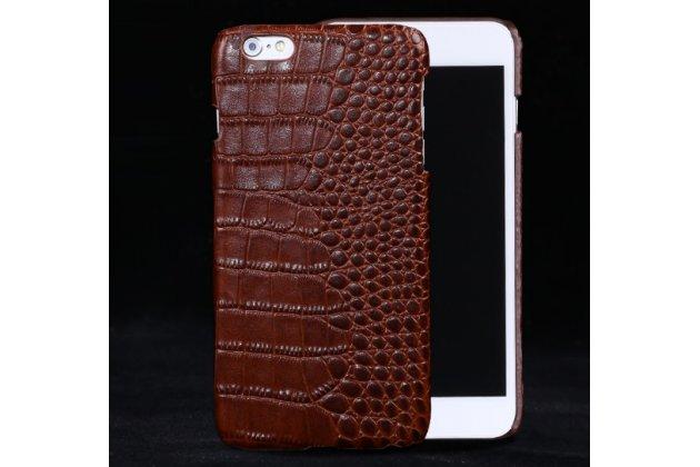"""Фирменная роскошная эксклюзивная накладка с объёмным 3D изображением рельефа кожи крокодила коричневая для Samsung Galaxy C7(C7000) 5.7"""". Только в нашем магазине. Количество ограничено"""