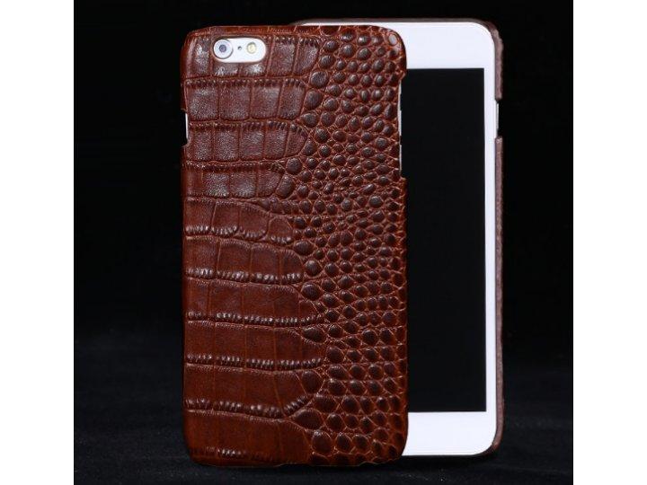 Фирменная роскошная эксклюзивная накладка с объёмным 3D изображением рельефа кожи крокодила коричневая для Sam..