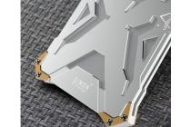 """Противоударный усиленный ударопрочный фирменный чехол-бампер на металлической основе для Samsung Galaxy C7(C7000) 5.7"""" серебристого цвета"""