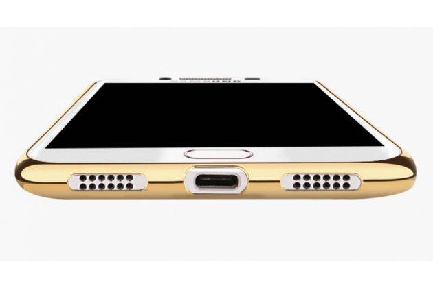 Фирменная премиальная элитная крышка-накладка на Samsung Galaxy C7(C7000) 5.7 красная из качественного силикона с дизайном под кожу