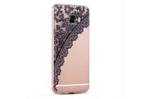 """Фирменная задняя панель-чехол-накладка из прозрачного 3D  силикона с объёмным рисунком для Samsung Galaxy C7(C7000) 5.7""""  """"тематика Черное кружево"""" которая огибает логотип чтобы была видна марка телефона"""