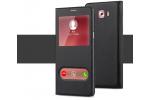 Фирменный чехол-книжка для Samsung Galaxy C9 Pro (SM-C9000) черный с окошком для входящих вызовов и свайпом водоотталкивающий