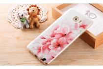 Фирменная уникальная задняя панель-крышка-накладка из тончайшего силикона для Samsung Galaxy C9 Pro (SM-C9000) с объёмным 3D рисунком тематика Цветущая Вишня