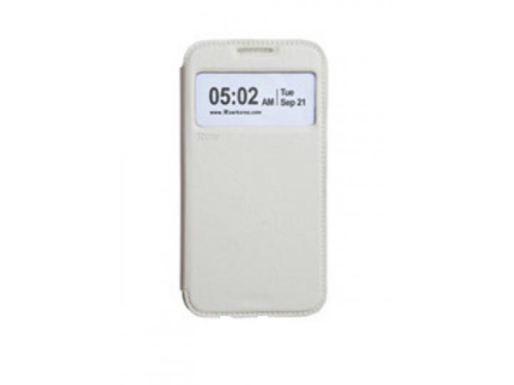 Фирменный оригинальный чехол-книжка для Samsung Galaxy Core 2 SM-G355H белый кожаный с окошком для входящих вы..
