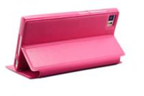 Фирменный оригинальный чехол-книжка для Samsung Galaxy Core 2 SM-G355H малиновый кожаный с окошком для входящих вызовов