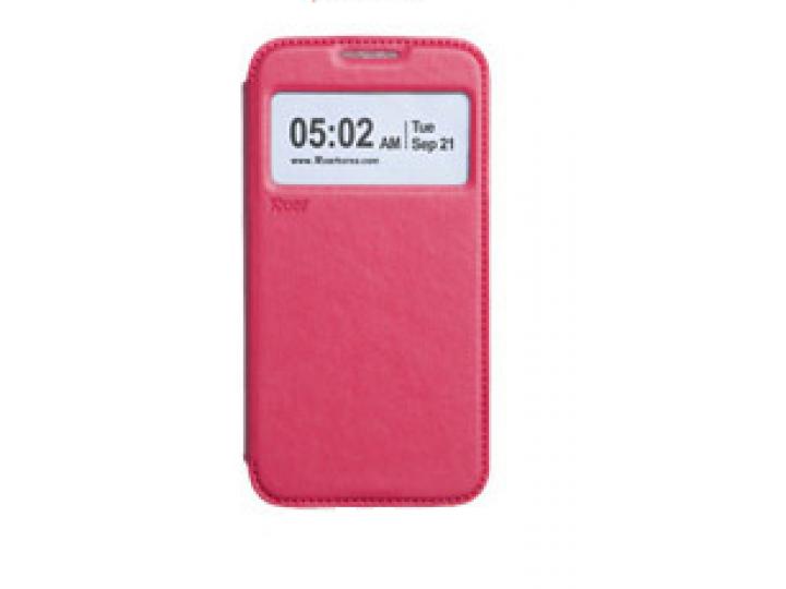 Фирменный оригинальный чехол-книжка для Samsung Galaxy Core 2 SM-G355H малиновый кожаный с окошком для входящи..