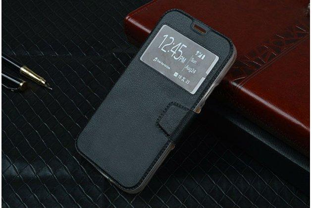 Фирменный чехол-книжка для Samsung GALAXY Core Prime SM-G360H черный с окошком для входящих вызовов кожаный