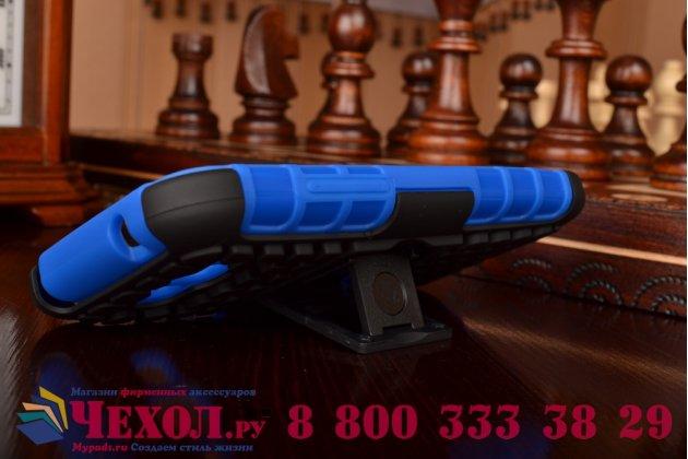 Противоударный усиленный ударопрочный фирменный чехол-бампер-пенал для Samsung Galaxy Core Prime G360 синий