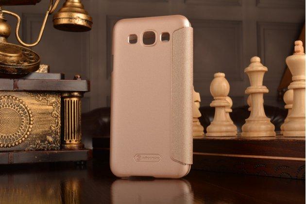 Фирменный оригинальный чехол-книжка для Samsung Galaxy E5 шампань золотой с окошком для входящих вызовов