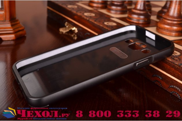 Фирменная металлическая задняя панель-крышка-накладка из тончайшего облегченного авиационного алюминия для Samsung Galaxy E5 черная