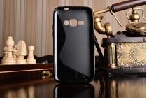 Фирменная ультра-тонкая полимерная из мягкого качественного силикона задняя панель-чехол-накладка для Samsung Galaxy J1 2016 SM-J120F/H DuoS черная