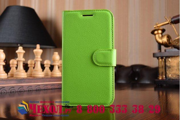 Фирменный чехол-книжка для  Samsung Galaxy J1 2016 SM-J120F/H DuoS  с визитницей и мультиподставкой зеленый кожаный