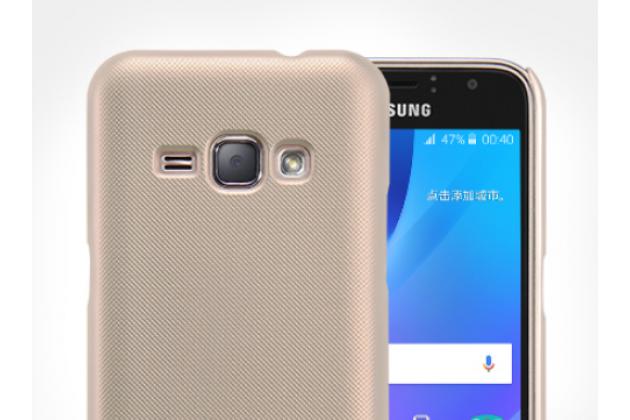Фирменная задняя панель-крышка-накладка из тончайшего и прочного пластика для Samsung Galaxy J1 2016 SM-J120F/H DuoS золотая