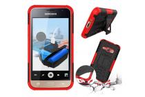 Противоударный усиленный ударопрочный фирменный чехол-бампер-пенал для Samsung Galaxy J1 2016 SM-J120F/H DuoS красный