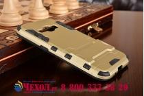 Противоударный усиленный ударопрочный фирменный чехол-бампер-пенал для Samsung Galaxy J1 2016 SM-J120F/H DuoS золотой